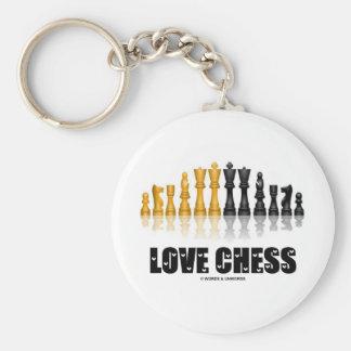 Love Chess Basic Round Button Key Ring