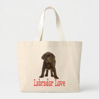 Love Chocolate Brown Labrador Retriever Puppy Dog Large Tote Bag