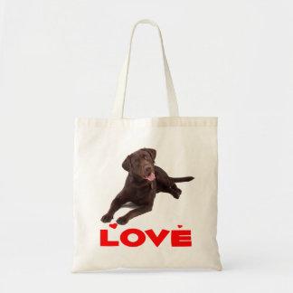 Love Chocolate Brown Labrador Retriever Puppy Dog Tote Bag