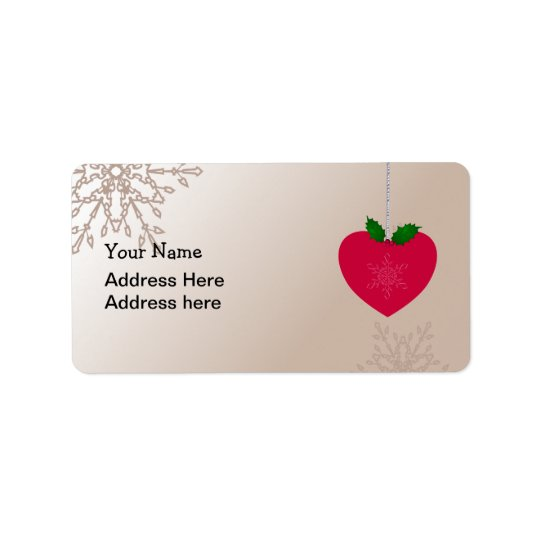 Love Christmas, heart shape with snowflakes Address Label