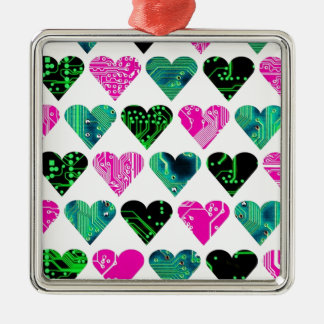 love circuit, Colors set 3 Silver-Colored Square Decoration