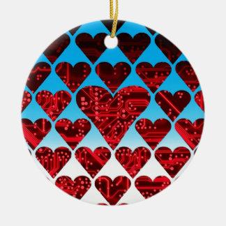 love circuit, red round ceramic decoration