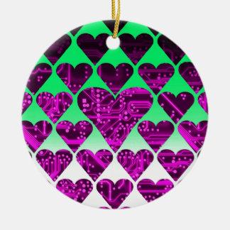 love circuit, violet round ceramic decoration