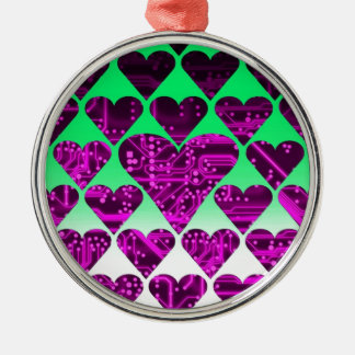 love circuit, violet Silver-Colored round decoration