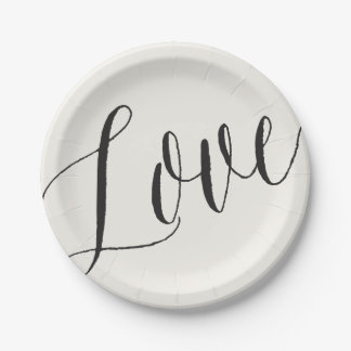 Love Classic Simple Script Calligraphy Wedding 7 Inch Paper Plate