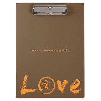 Love clipboards with orange kanji and enso circle