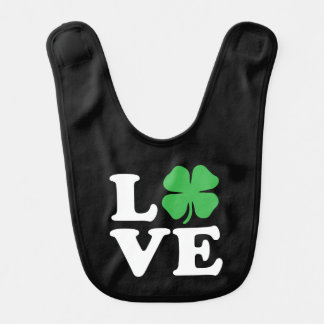 Love Clover Black Baby Bib
