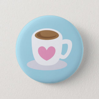 LOVE COFFEE coffee cup with a love heart 6 Cm Round Badge