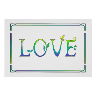 Love-Colorful Yellow, Green, Blue Art Deco Poster