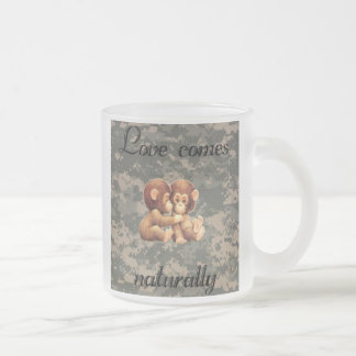 Love comes naturally frosted glass mug