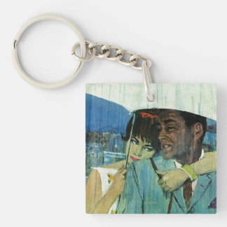Love Comes to Miss Lucas Double-Sided Square Acrylic Key Ring