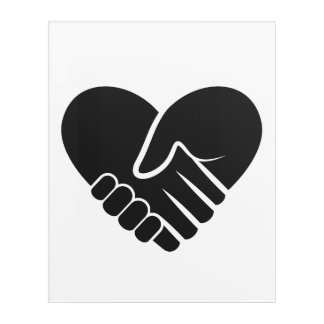 Love Connected black heart Acrylic Print