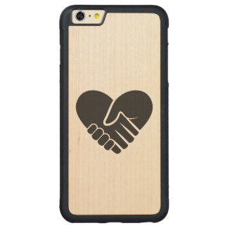 Love Connected black heart Carved Maple iPhone 6 Plus Bumper Case