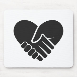 Love Connected black heart Mouse Pad