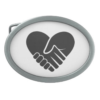 Love Connected black heart Oval Belt Buckles