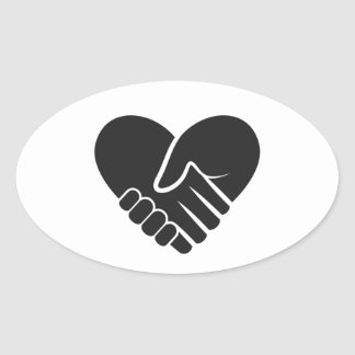 Love Connected black heart Oval Sticker