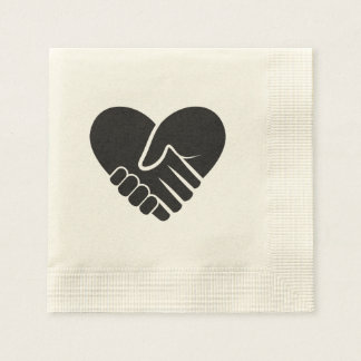 Love Connected black heart Paper Napkins