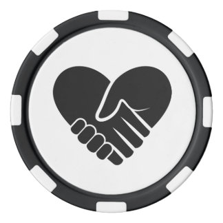 Love Connected black heart Poker Chips