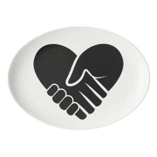 Love Connected black heart Porcelain Serving Platter