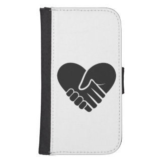 Love Connected black heart Samsung S4 Wallet Case