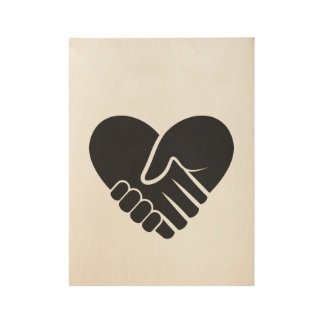 Love Connected black heart Wood Poster