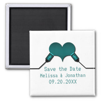 Love Connection USB Save the Date Magnet, Teal Square Magnet