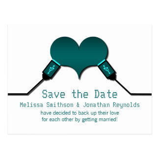 Love Connection USB Save the Date Postcard, Teal Postcard