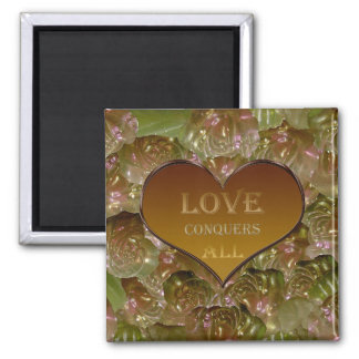 Love Conquers All Gold Flora Square Magnet