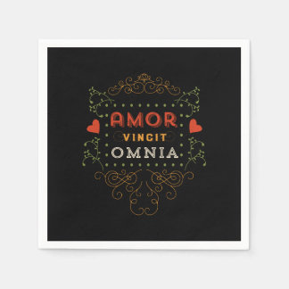 Love Conquers All - Vintage Latin Typography Disposable Serviette