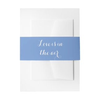 Love Cornflower Blue Wedding  Party Invitation Belly Band