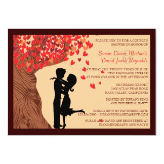 Love Couple Falling Hearts Oak Tree Couples Shower 11 Cm X 16 Cm Invitation Card