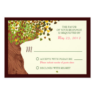 Love Couple Falling Hearts Oak Tree RSVP Custom Invites