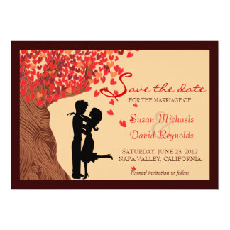 Love Couple Falling Hearts Oak Tree Save the Date 13 Cm X 18 Cm Invitation Card