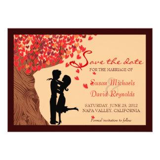 Love Couple Falling Hearts Oak Tree Save the Date Invitation