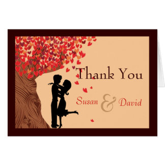 Love Couple Falling Hearts Oak Tree Thank You Note Note Card