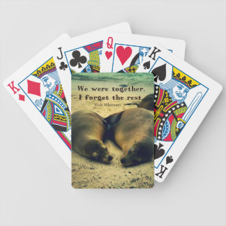Love couple quote sea lions on the beach bicycle playing cards
