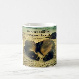 Love couple quote sea lions on the beach coffee mug