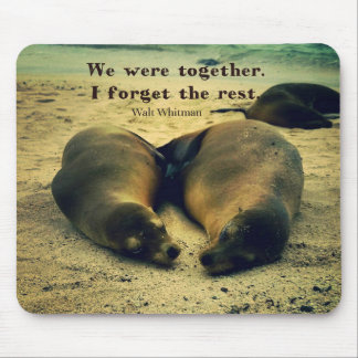 Love couple quote sea lions on the beach mouse pad