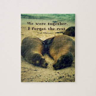 Love couple quote sea lions on the beach puzzle