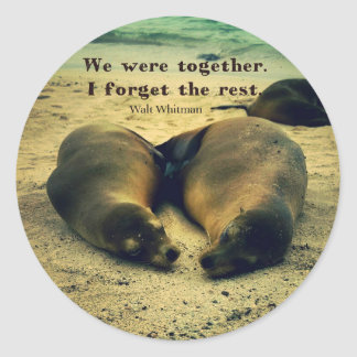 Love couple quote sea lions on the beach round sticker