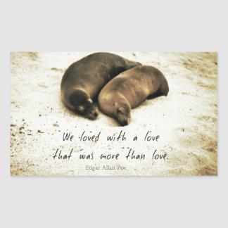 Love couple romantic quote sea lions on the beach rectangular sticker
