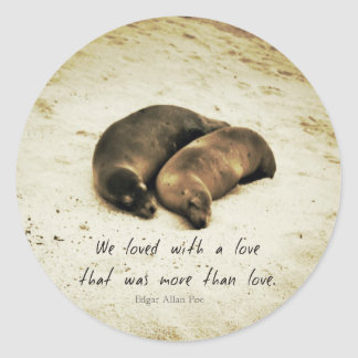 Love couple romantic quote sea lions on the beach round sticker