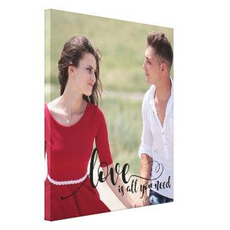 Love | Couple Text Overlay | Create your own Photo Canvas Print