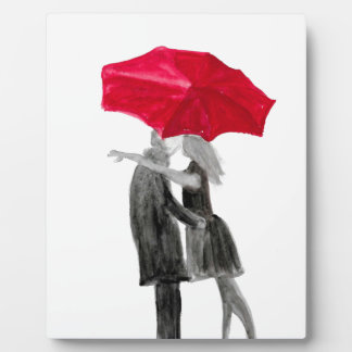Love couple with red umbrella plaque