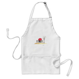 Love couple with red umbrella standard apron
