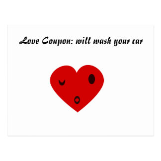 Love Coupon: will wash your car Postcard