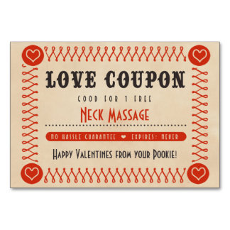 Love Coupons for Couples Valentines or Anniversary Table Cards