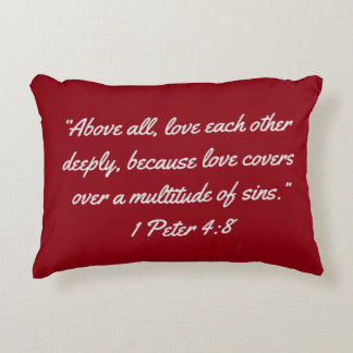 """""""Love Covers"""" Scripture Accent Pillow"""