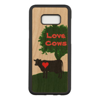 Love Cows- Cow Silhouette with Lone Tree Carved Samsung Galaxy S8+ Case