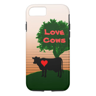 Love Cows- Cow Silhouette with Lone Tree iPhone 7 Case